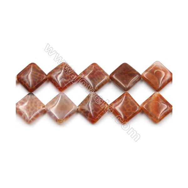 """Natural Fire Agate Beads Strand, Rhombus, Size 20mm, Hole 1mm, 15~16""""/strand"""