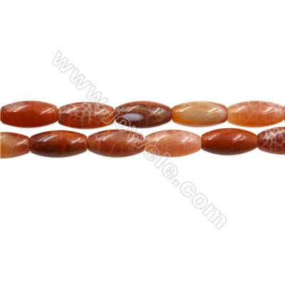 "Natural Fire Agate Beads Strand, Rice beads, Size 10x20mm, Hole 0.8mm, 15~16""/strand"