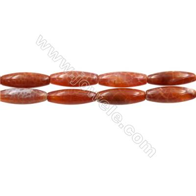 "Natural Fire Agate Beads Strand, Rice beads, Size 10x30mm, Hole 1mm, 15~16""/strand"