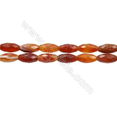 "Natural Fire Agate Faceted Beads Strand, Rice beads, Size 6x14mm, Hole 1mm, 15~16""/strand"