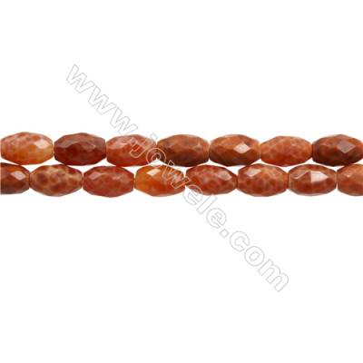 "Natural Fire Agate Faceted Beads Strand, Bucket, Size 8x11mm, Hole 0.8mm, 15~16""/strand"