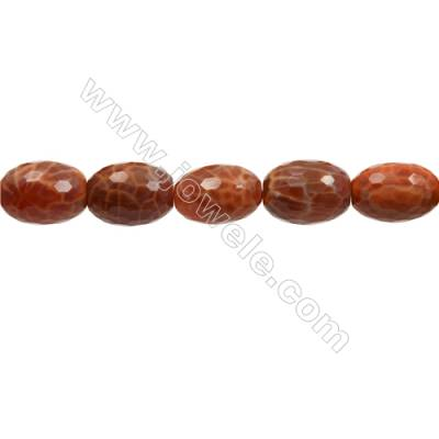 "Natural Fire Agate Faceted Beads Strand, Bucket, Size 15x20mm, Hole 1mm, 15~16""/strand"