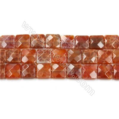 "Natural Fire Agate Faceted Beads Strands, Square, Size 12x12mm, Hole 1mm, 15~16""/strand"
