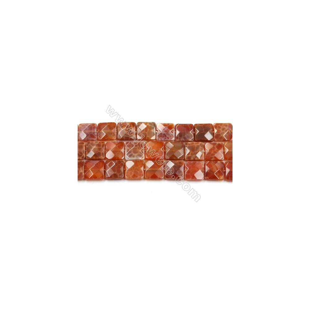 """Natural Fire Agate Faceted Beads Strands, Square, Size 12x12mm, Hole 1mm, 15~16""""/strand"""