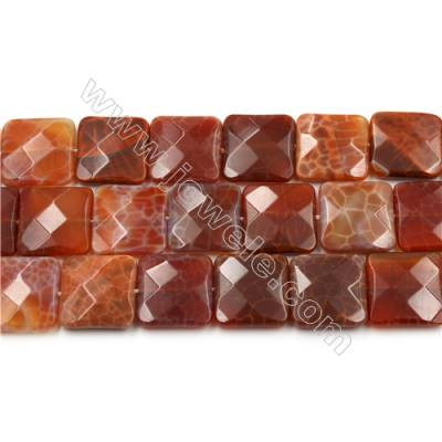 "Natural Fire Agate Faceted Beads Strands, Square, Size 20x20mm, Hole 0.8mm, 15~16""/strand"