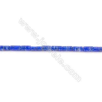 Natural Lapis Lazuli Beads Strand Colunm  Size 4x9mm  hole 1mm  about 46 beads/strand 15~16""