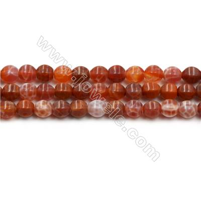 "Natural Fire Agate Faceted Beads Strands, Round, Size 8mm, Hole 1mm, 15~16""/strand"