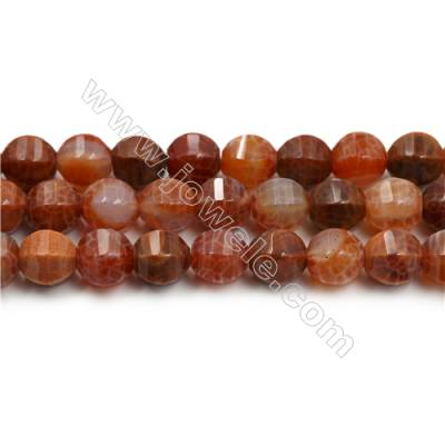 "Natural Fire Agate Faceted Beads Strands, Round, Size 14mm, Hole 1mm, 15~16""/strand"