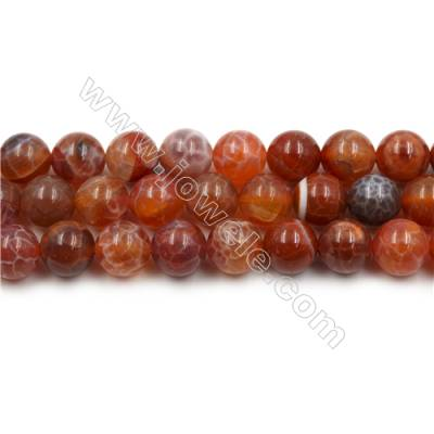 "Natural Fire Agate Beads Strands, Round, Size 12mm, Hole 1mm, 15~16""/strand"