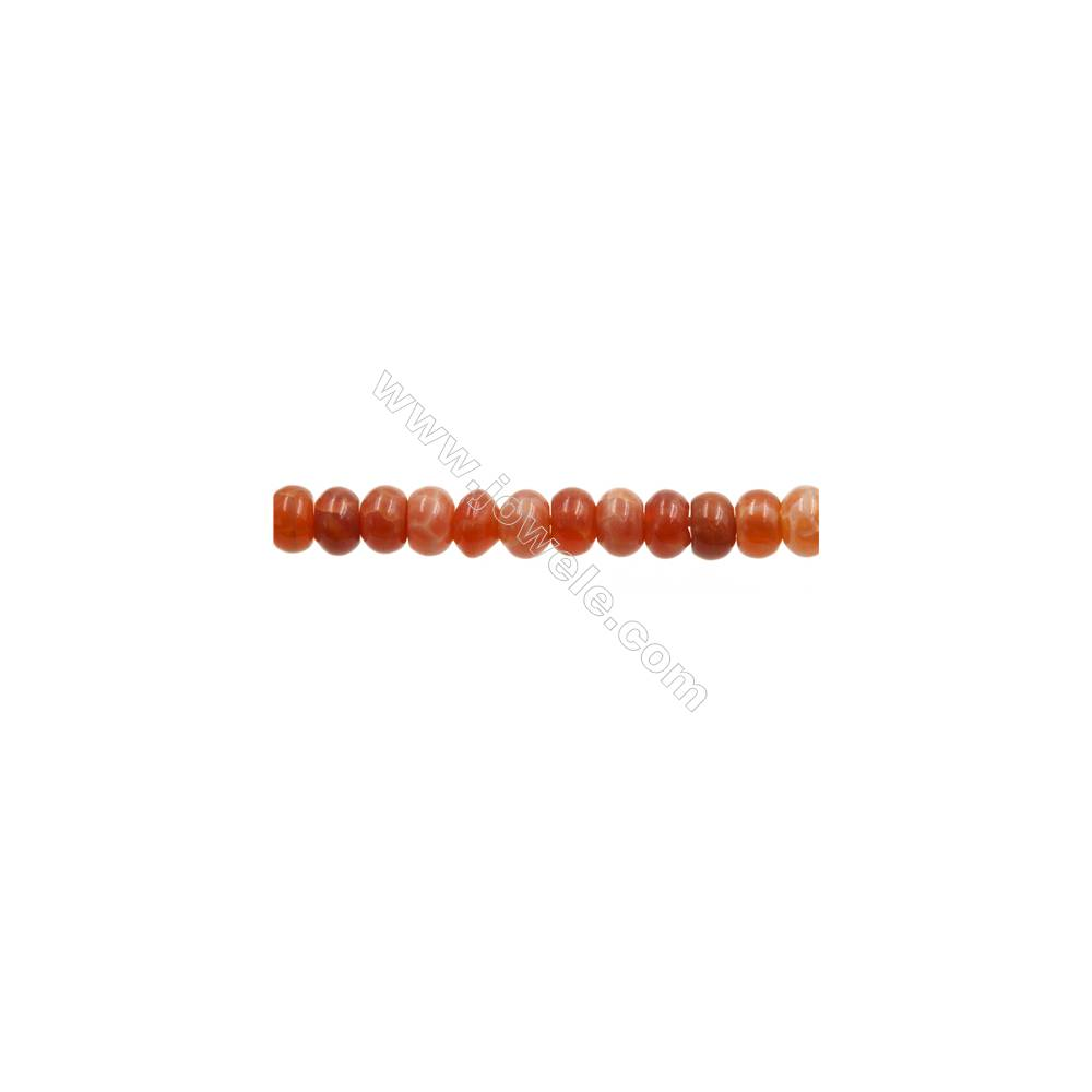 """Natural Fire Agate Beads Strands, Abacus, Size 4x6mm, Hole 1mm, 15~16""""/strand"""
