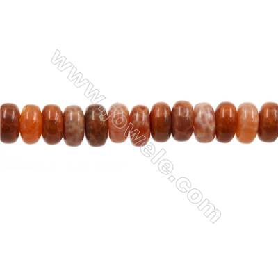 "Natural Fire Agate Beads Strands, Abacus, Size 5x10mm, Hole 1mm, 15~16""/strand"