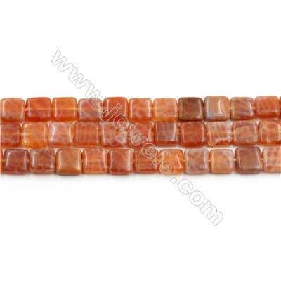"Natural Fire Agate Beads Strands, Square, Size 8x8mm, Hole 0.8mm, 15~16""/strand"