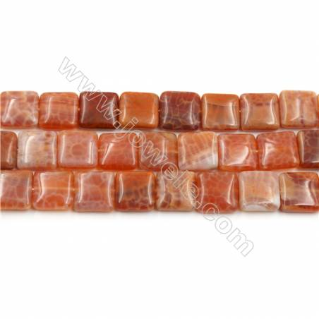 "Natural Fire Agate Beads Strands, Square, Size 12x12mm, Hole 0.8mm, 15~16""/strand"
