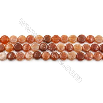 "Natural Fire Agate Beads Strands, Flat Round, Size 8mm, Hole 0.8mm, 15~16""/strand"