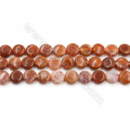 "Natural Fire Agate Beads Strands, Flat Round, Size 10mm, Hole 0.8mm, 15~16""/strand"