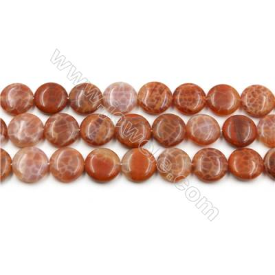 "Natural Fire Agate Beads Strands, Flat Round, Size 16mm, Hole 0.8mm, 15~16""/strand"