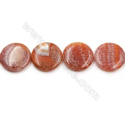 "Natural Fire Agate Beads Strands, Flat Round, Size 30mm, Hole 0.8mm, 15~16""/strand"