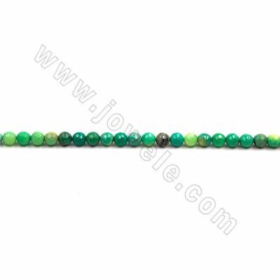 "Natural Green Grass Agate Beads Strand, Faceted Round, Size 6mm, Hole 0.8mm, 15~16""/strand"