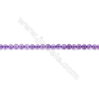 Natural Amethyst Beads Strand  Round  Diameter 4mm  hole 0.8mm  about 95 beads/strand 15~16""