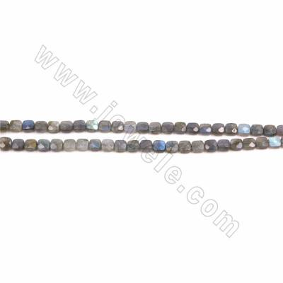 "Natural Labradorite Faceted Beads Strand, Flat Square, Size 8x8mm, Hole 1mm, 15~16""/strand"