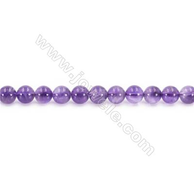 Natural Amethyst Beads Strand  Round  Diameter 8mm  hole 1mm  about 51 beads/strand 15~16""