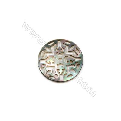 Openwork design natural shell grey mother-of-pearl carving, 30mm, x 5pcs/pack
