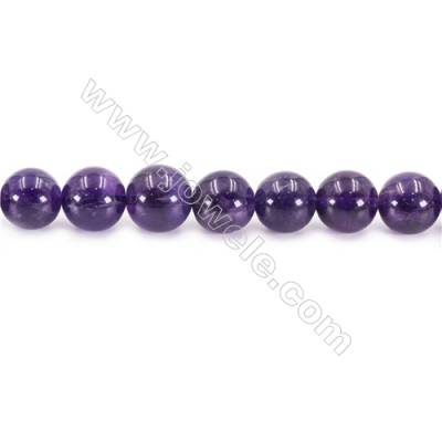 Natural Amethyst Beads Strand  Round  Diameter 12mm  hole 1.5mm  about 34 beads/strand 15~16""