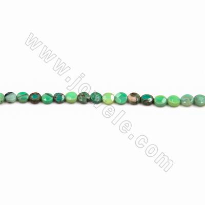 "Natural Green Moss Agate Faceted Beads Strand, Flat Round, Size 6mm, Hole 1mm, 15~16""/strand"