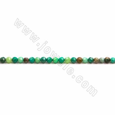 "Natural Green Moss Agate Beads Strand, Faceted Round, Size 4mm, Hole 0.7mm, 15~16""/strand"