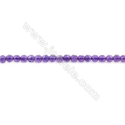 Natural Amethyst Beads Strand  Faceted Round  Diameter 4mm  hole 0.8mm  about 92 beads/strand 15~16""