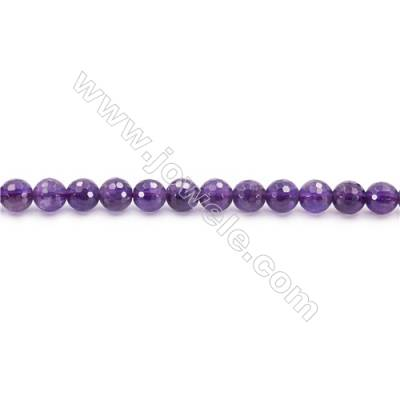 Natural Amethyst Beads Strand  Faceted Round  Diameter 6mm  hole 1mm  about 67 beads/strand 15~16""