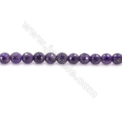 Natural Amethyst Beads Strand  Faceted Round  Diameter 8mm  hole 1mm  about 53 beads/strand 15~16""