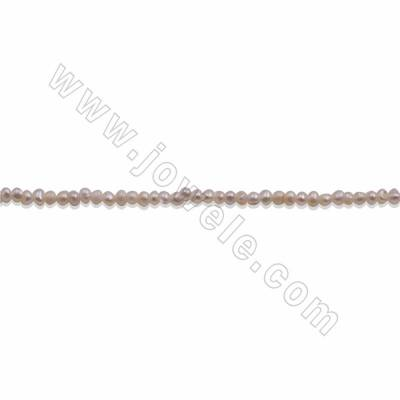 "Natural Freshwater Pearl Beads Strands, White, Size 2~3mm, Hole about 0.3mm, 15~16""/strand"