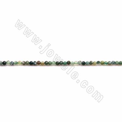 "Natural Indian Agate Beads Strands, Faceted Round, Size 2mm, Hole 0.3mm, 15~16""/strand"