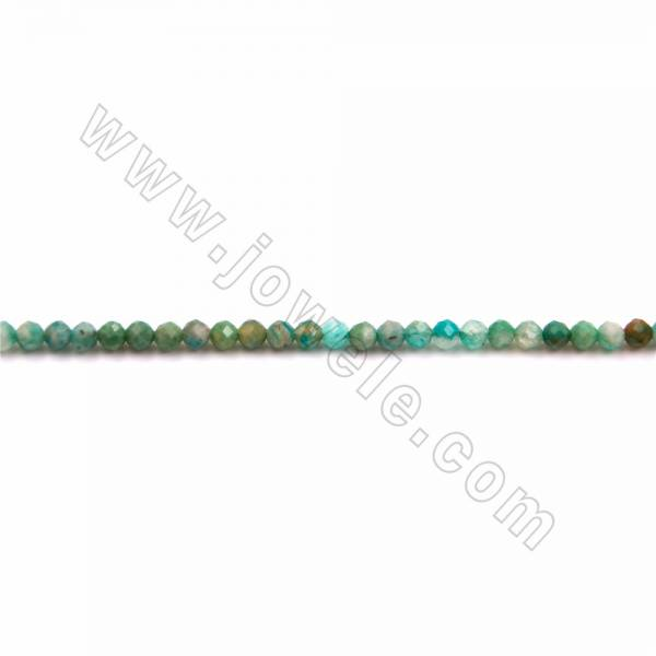 """Natural Amazonite Beads Strand, Faceted Round, Size 3mm, Hole 0.5mm, 15~16""""/strand"""