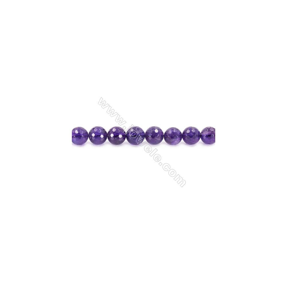 Natural Amethyst Beads Strand  Faceted Round  Diameter 12mm  hole 1.5mm  about 33 beads/strand 15~16""