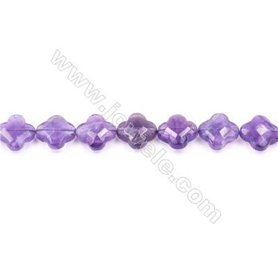Natural Amethyst Beads Strand  Faceted Cross  Size 13x13mm  hole 1mm  about 29 beads/strand 15~16""