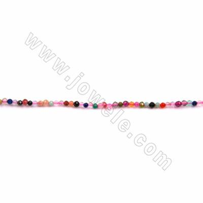 """Natural Mixed Stone Beads Strand, Faceted Round, Size 2mm, Hole 0.3mm, 15~16""""/strand"""