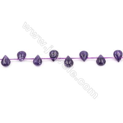 Natural Amethyst Beads Strand  Waterdrop  Size 7x10mm  hole 1mm  about 33 beads/strand 15~16""