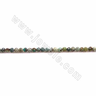"Natural African Turquoise Beads Strand, Faceted Round, Size 3mm, Hole 0.5mm, 15~16""/strand"