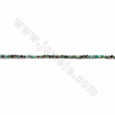 "Natural African Turquoise Beads Strand, Faceted Round, Size 2mm, Hole 0.3mm, 15~16""/strand"