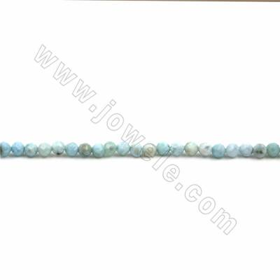 "Natural Larimar Beads Strand, Faceted Round, Size 4mm, Hole 0.7mm, 15~16""/strand"