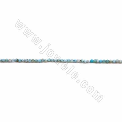"Natural Larimar Beads Strand, Faceted Round, Size 2mm, Hole 0.4mm, 15~16""/strand"