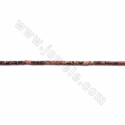 "Red Leopard Skin Jasper Beads Strand, Cylinder, Size 2x4mm, Hole 0.5mm, 15~16""/strand"