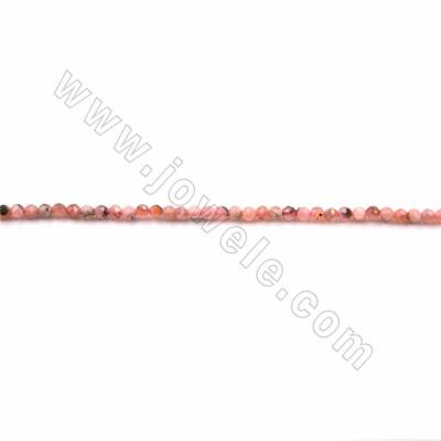 "Natural Rhodochrosite Beads Strand, Faceted Round, Size 2mm, Hole 0.3mm, 15~16""/strand"