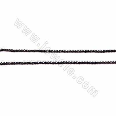 "Natural Black Spinel Faceted Beads Strands, Coin, Size 3.5x4mm, Hole 0.6mm, 15~16""/strand"