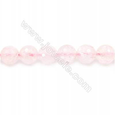 Natural Rose Quartz Beads Strand  Faceted Round  Diameter 10mm  hole 1mm  about 40 beads/strand 15~16""