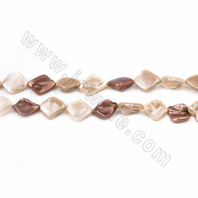 "Irregular Electroplated Natural Shell Pearl Beads Strand, 3 Colors Mixing, Size about 10x20mm, Hole about 1mm, 15~16""/strand"
