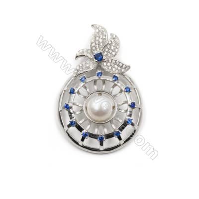 925 Sterling silver platinum plated zircon pendant -D5621 28x42mm x 5pcs disc diameter 7mm small needle diameter 0.6mm