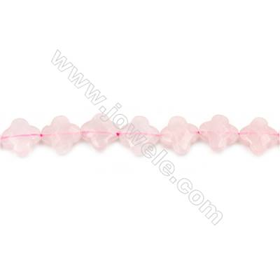 Natural Rose Quartz Beads Strand  Clover  Size 13x13mm  hole 1.5mm  about 31 beads/strand 15~16""